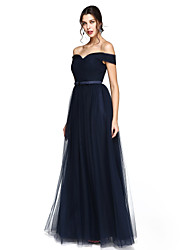 cheap -A-Line Off Shoulder V-Wire Floor Length Satin Tulle Bridesmaid Dress with Sash / Ribbon Criss Cross by LAN TING BRIDE®