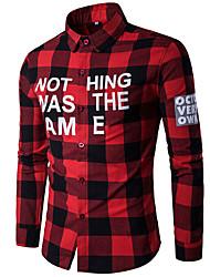 baratos -Homens Camisa Social Diário Casual Primavera, Listrado Algodão Colarinho de Camisa Manga Longa