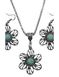 cheap -Jewelry Set Turquoise Vintage European Daily Turquoise Alloy Cross Flower 1 Necklace 1 Pair of Earrings