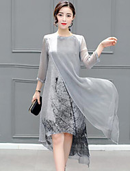 Women's Plus Size Casual/Daily Simple Loose Dress,Print Round Neck Midi ½ Length Sleeve Gray Rayon Spring Summer Mid Rise Inelastic Medium