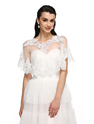 cheap -Tulle Wedding Party Evening Women's Wrap With Lace Ponchos