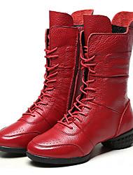 Women's Dance Sneakers Leather Boot Indoor Flat Heel Black Red Customizable