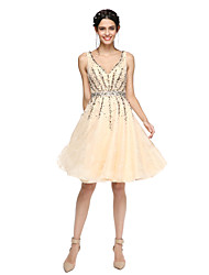 cheap -A-Line V-neck Knee Length Lace Organza Cocktail Party Homecoming Dress with Beading by TS Couture®