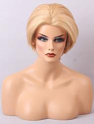 Donna Parrucche di capelli umani con retina Cappelli veri Lace frontale Densità Lisci Parrucca Beige Biondo // Bleach Blonde Capelli