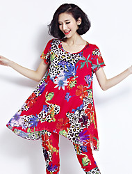 Women's Dailywear Shopping Daily Indoor Classic & Timeless Summer T-shirt Pant Suits,Others Round Neck Short SleeveFlora Style Modern