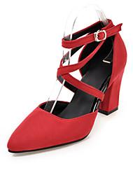 Недорогие -Для женщин Обувь на каблуках клуб Обувь Весна Лето Осень Флис Повседневные Для праздника Пряжки На толстом каблуке Черный Серый Красный