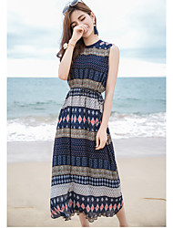 Beach Holiday Cute Chinoiserie Sophisticated Swing Dress,Geometric Round Neck Midi Sleeveless Polyester Blue Summer Mid Rise Inelastic