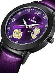 WWOOR Women's Dress Watch Fashion Watch Wrist watch Quartz Imitation Diamond Luminous Leather Band Flower Charm Luxury Black Red Purple
