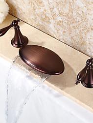 Contemporaneo A 3 fori Cascata Ampio spray with  Valvola in ceramica Due maniglie Tre fori for  Bronzo lucidato , Lavandino rubinetto del