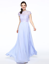 A-Line Jewel Neck Floor Length Chiffon Lace Bridesmaid Dress with Lace Pleats by LAN TING BRIDE®