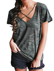Women's Lace up Casual/Daily Simple Summer T-shirt,Camouflage V Neck Short Sleeve Green Cotton Medium