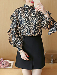 Women's Going out Sophisticated Spring Blouse,Print Round Neck Long Sleeve Red Black Polyester Medium