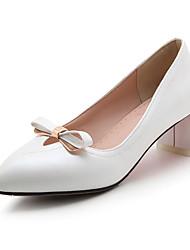 cheap -Women's Heels Spring Summer Fall Winter Club Shoes PU Office & Career Party & Evening Dress Chunky Heel Bowknot Pink White Light Blue