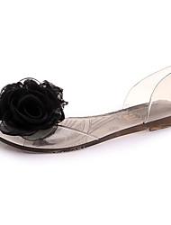Недорогие -Для женщин Сандалии Полиуретан Лето Повседневные Цветы На плоской подошве Черный Желтый На плоской подошве