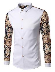 Men's Casual/Daily Party/Cocktail Club Punk & Gothic Spring Fall Shirt,Print Shirt Collar Long Sleeve Blue White Black Cotton Medium