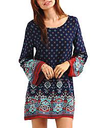 baratos -Mulheres Para Noite Algodão Solto Vestido - Estampado Altura dos Joelhos