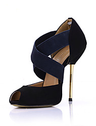 Women's Heels Summer Comfort Velvet Wedding Office & Career Party & Evening Dress Stiletto Heel Black/Blue