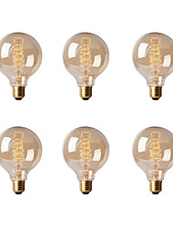cheap -Ecolight™ 6pcs 40W E26/E27 G80 2300 K Incandescent Vintage Edison Light Bulb AC 220-240V V