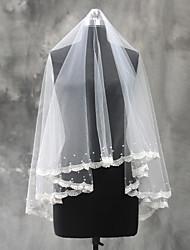 Uma Camada Borda com aplicação de Renda Véus de Noiva Véu Ponta dos Dedos Com Apliques Pérola Tule