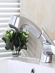 economico -Moderno Installazione centrale Doccetta estraibile Valvola in ceramica Una manopola Un foro Cromo, Lavandino rubinetto del bagno