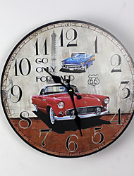 Traditional Country Antique Retro Holiday Red Sports Car Family Wall ClockNovelty Wood Plastic 35*35 Indoor/Outdoor Indoor Clock