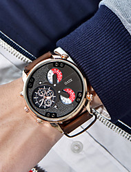 cheap -Men's Fashion Watch / Dress Watch / Wrist Watch Cool / Large Dial Leather Band Vintage / Casual Black / Brown / Xingguang 377
