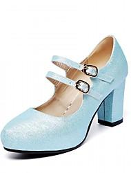 Damen Schuhe Kunststoff Kunstleder PU Frühling Sommer Herbst Winter Komfort Neuheit High Heels Walking Blockabsatz Runde Zehe Schnalle Für