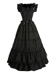 cheap -One Piece Dress Gothic Lolita Vintage Inspired Cosplay Lolita Dress Black Vintage Butterfly Sleeveless Dress For Cotton Satin
