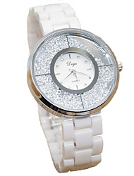 Women's Fashion Watch Simulated Diamond Watch Quartz Imitation Diamond Ceramic Band White
