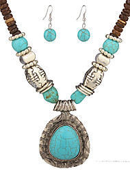 cheap -Women's Jewelry Set Pendant Necklaces Jewelry Unique Design Dangling Style Pendant Vintage Folk Style Wedding Turquoise Alloy Others Drop