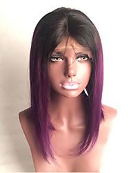 Kvinder Blondeparykker af menneskehår Menneskehår Blonde Front Halvblonder uden lim 130% Massefylde Glat Paryk Sort / Lilla Kort Medium