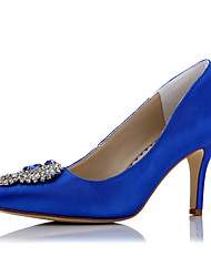 cheap -Women's Shoes Satin Spring Summer Heels Stiletto Heel Pointed Toe Rhinestone for Wedding Dress Party & Evening Blue+Pink