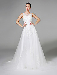 A-Line Illusion Neckline Sweep / Brush Train Tulle Wedding Dress with Crystal Beading Pearl Appliques by LAN TING BRIDE®