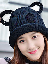Women 's Wool Autumn And Winter Cat Ear Curling Plus Velvet Stitching Color Knitted Warm Cap