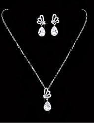 cheap -Rhinestone Rhinestone / Silver Plated Jewelry Set 1 Necklace / 1 Pair of Earrings - White For Wedding / Party