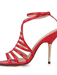 abordables -Mujer Zapatos PU Verano Confort / Zapatos con luz Sandalias Tacón Stiletto Puntera abierta Negro / Rojo / Boda / Fiesta y Noche / Fiesta y Noche