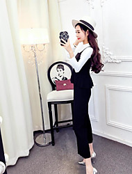 Hitz Women Korean fashion sexy nightclub Slim long-sleeved shirt wide leg pants suit female autumn