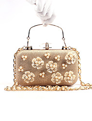 Women Bags Polyester leatherette Evening Bag Imitation Pearl Crystal/ Rhinestone for Wedding Event/Party Formal All Seasons Champagne