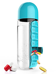 Portable Plastic Water Bottle with Built-in Daily Pill or Vitamin Box Organizer 600ML