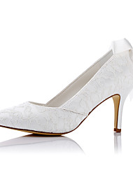 preiswerte -Damen Schuhe Satin / Kunststoff Frühling / Sommer High Heels Stöckelabsatz Spitze Zehe Geflochtene Riemchen für Hochzeit / Party &