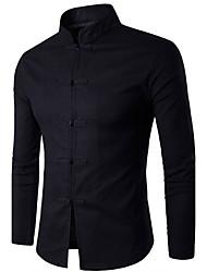cheap -Men's Chinoiserie Cotton Shirt - Solid