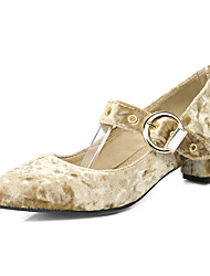 economico -Da donna Tacchi Club Shoes Primavera Estate Autunno Felpato Casual Formale Fibbia Basso Viola Verde Rosa Tessuto almond 2,5 - 4,5 cm