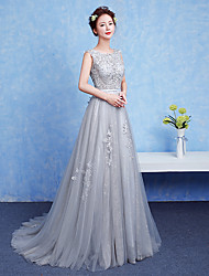 cheap -A-Line Scoop Neck Floor Length Lace Formal Evening Dress with Sash / Ribbon