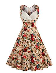 Trapèze Robe Femme Sortie Décontracté / Quotidien Vintage Chic de Rue,Fleur Coeur Mi-long Sans Manches Coton Eté Taille Normale