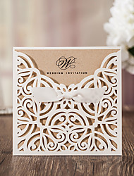 cheap -Flat Card Wedding Invitations 50 - Invitation Cards Artistic Style Vintage Style Floral Style Card Paper Ribbons