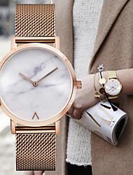 abordables -Hombre Cuarzo Reloj de Pulsera Mármol Gran venta Acero Inoxidable Banda Encanto Vintage Reloj de Vestir Minimalista Moda Plata Dorado Oro