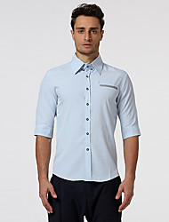 Men's Casual/Daily Formal Work Simple Shirt,Solid Shirt Collar ½ Length Sleeve Blue Red White Gray Cotton