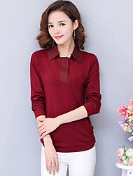 2017 new middle-aged mother dress coat big yards loose polo shirt cotton long-sleeved T-shirt women