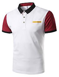 cheap -Men's Cotton Polo - Patchwork Shirt Collar