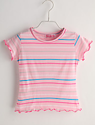 T-shirt Bambino Casual A strisce-Cotone-Estate-Rosa